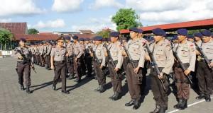 Pelepasan personil BKO Brimob Polda Sulut ke Papua.
