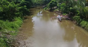 Kondisi air sungai Sawangan yang keruh
