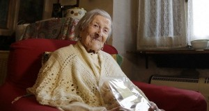 Emma Morano, 117 years hold, sits in her home in the day of her birthday in Verbania, Italy, Tuesday, Nov. 29, 2016. Emma Morano, at 117 the world's oldest person who is also believed to have been the last surviving person born in the 1800s, died Saturday at her home in northern Italy, her physician said. (AP/Antonio Calanni)