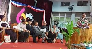 Wagub Drs Steven OE Kandouw saat menyampaikan sambutan setelah dipilihnya Indonesia, khususnya Sulut sebagai lokasi penyelenggaraan CCA oleh Dewan Gereja Dunia