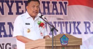 Gubernur Olly Dondokambey SE saat menyampaikan sambutan, Rabu (13/02/2019)