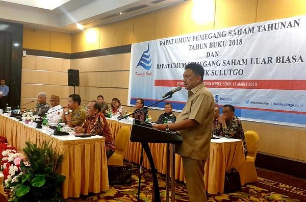 Gubernur Sulut Olly Dondokambey SE saat menyampaikan sambutan, Senin (11/03/2019)