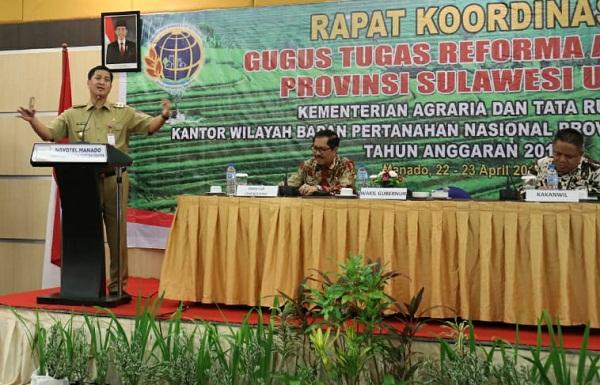 Wagub Drs Steven OE Kandouw saat menyampaikan sambutan di Rakor Gugus Tugas Reformasi Agraria, Senin (22/04/2019)