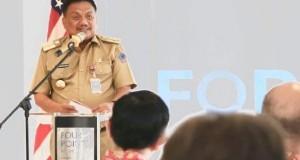 Gubernur Olly Dondokambey SE saat membawakan sambutan pada peresmian investasi perusahaan Amerika Serikat di Manado, Senin (17/06/2019)