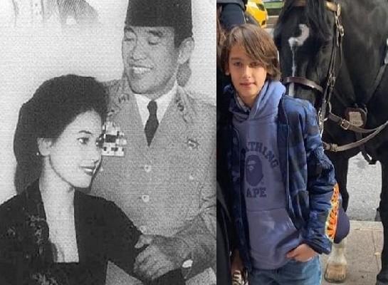 Presiden Pertama RI Soekarno bersama Ratna Sari Dewi Soekarno dan sang cucu Frederik Kiran Soekarno Seegers