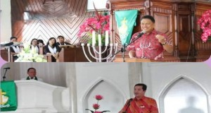 Gubernur Olly Dondokambey SE dan Wagub Drs Steven OE Kandouw saat ibadah Minggu di Kabupaten Minahasa Selatan