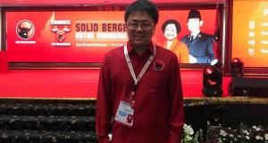 Bendahara DPD PDIP Sulut Andrei Angouw saat menghadiri kongres V Bali.