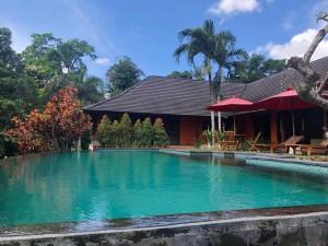Villa milik Joune Ganda dilengkapi dengan fasilitas kolam renang