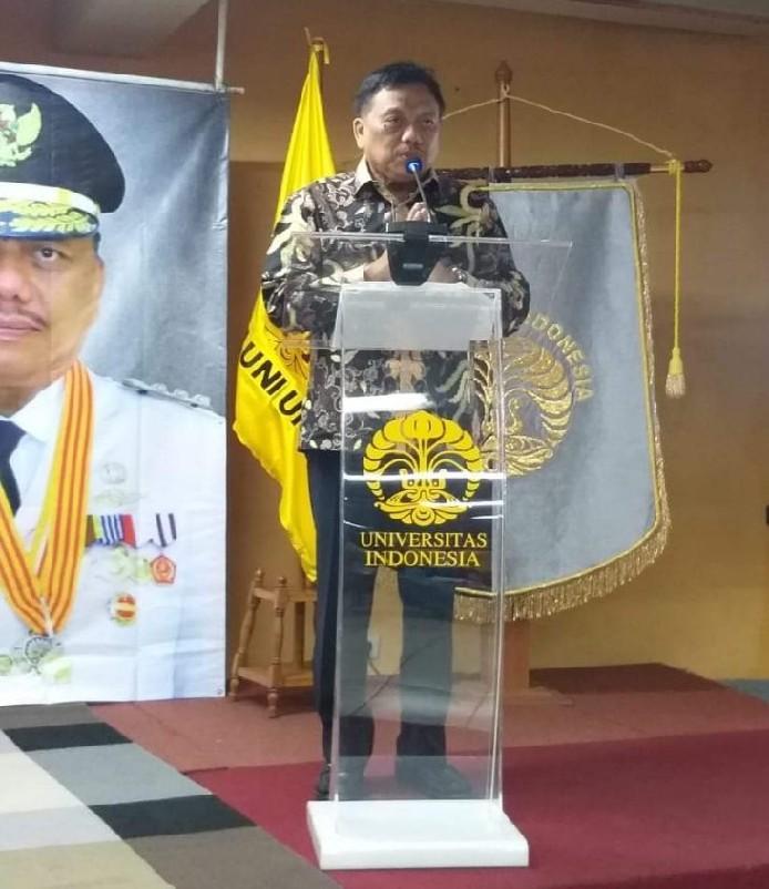 Gubernur Olly Dondokambey SE saat membawakan materi Kuliah Umum di Universitas Indonesia, Jakarta, Jumat (23/08/2019) siang.