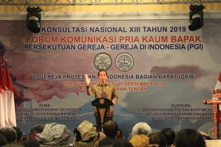 Presiden Joko Widodo saat menyampaikan sambutan pada Pembukaan Konas XIII FK PKB PGI