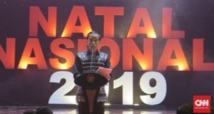 Presiden RI Joko Widodo saat menyampaikan sambutan di Perayaan Natal Nasional 2019, Jumat (27/12/2019)