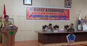Wakil Gubernur Sulut Drs Steven OE Kandouw saat menyampaikan sambutan pada Rapat Koordinasi Penanganan Darurat Bencana Provinsi Sulut, Selasa (21/01/2020)