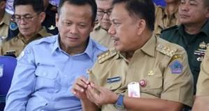 Menteri KKP RI Edhy Prabowo bersama Gubernur Sulut Olly Dondokambey SE, Selasa (18/02/2020)