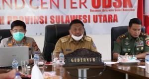 Gubernur Olly Dondokambey SE selaku Ketua Gugus Tugas Penanganan Covid-19 didampingi Pangdam XIII/Merdeka dan Kapolda Sulut