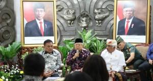 Wakil Presiden RI Prof KH Ma'ruf Amin saat menerima Gubernur Olly Dondokambey SE dan Panitia Pelaksana Konferensi Nasional FKUB VI tahun 2020 di Kantor Sekretariat Wapres, Selasa (10/03/2020) pagi
