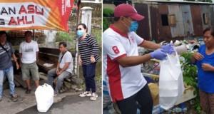 Kadis Sosial Daerah Provinsi Sulut dr Rinny Tamuntuan MKes dan Karo Umum Setda Pemprov Sulut menyalurkan bantuan Makanan Siap Saji di Manado, Sabtu (04/04/2020)