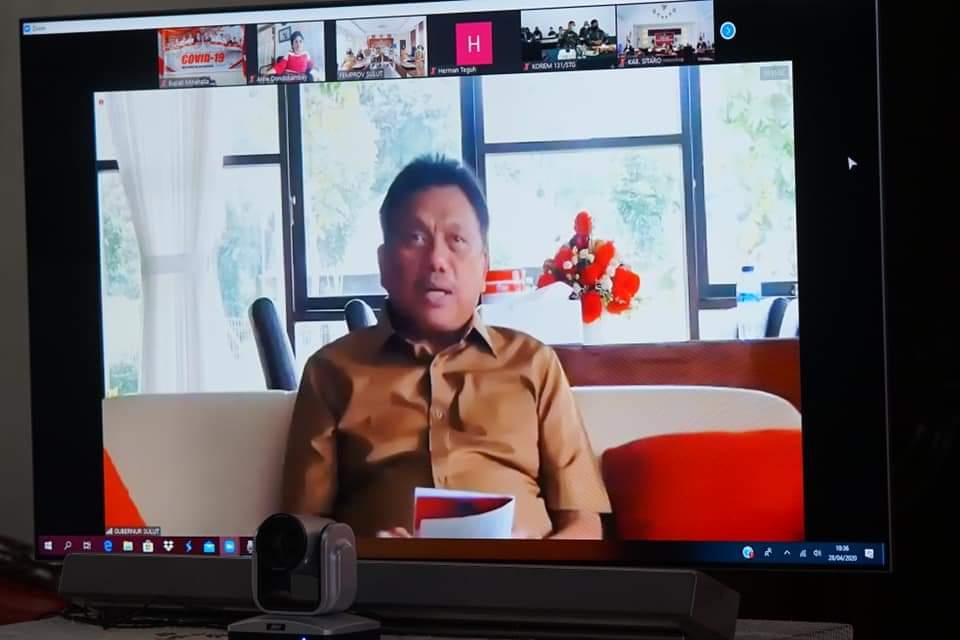 Gubernur Sulut Olly Dondokambey SE saat memberikan arahan terkait penanganan Covid-19 dan program kegiatan pembangunan Sulut