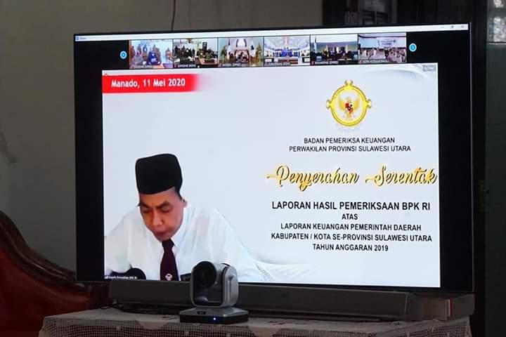 Kepala BPK RI Perwakilan Sulut Karyadi saat penyampaian Opini WTP bagi LKPD Kabupaten Minahasa TA 2019 melalui Video Conference