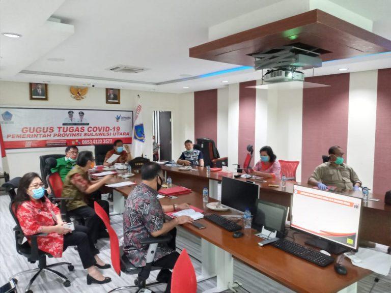 Sekretaris Daerah Provinsi Sulut Edwin Silangen SE saat mengikuti kegiatan pencegahan korupsi anggaran Covid-19 bersama KPK RI melalui Video Conference