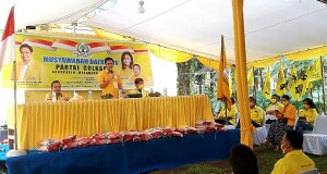 James Arthur Kojongian saat membuka kegiatan Musda IV PG Minahasa Utara.