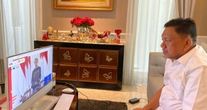 Gubernur Olly Dondokambey SE saat mengikuti kegiatan KPK yang dibuka Presiden Joko Widodo, Rabu (26/08/2020)