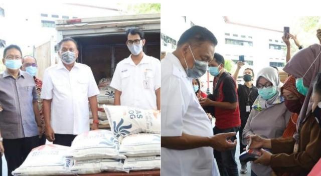 Gubernur Olly Dondokambey SE saat meluncurkan Bantuan Sosial Beras sebanyak 4.298 ton bagi 95.517 KPM PKH di Provinsi Sulawesi Utara, Sabtu (12/09/2020)