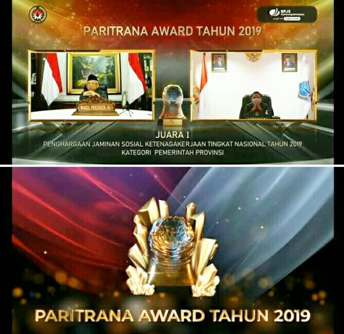 Gubernur Olly Dondokambey SE menerima Penghargaan Paritrana Award 2019 untuk program PERKASA BPJS Ketenagakerjaan