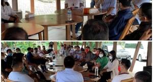 Pimpinan dan Anggota DPRD Minut tampak bersama Bupati terpilih Joune Ganda di Raewaya Bitung, Selasa (19/01/21)