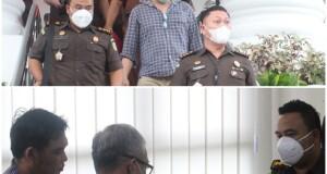 Aye sebutan Alexander Moses Panambunan tampak didampingi kuasa hukum saat berada di Kantor Kejati Sulut, Kamis 21 Januari 2021. (foto: Dokumentasi Kejati Sulut)