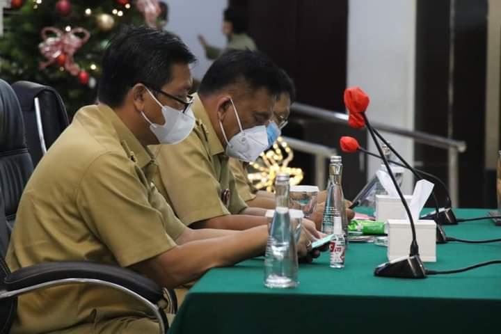 Top Eksekutif Pemprov Sulut saat Apel Kerja Perdana Tahun 2021 di Ruang Mapalus Kantor Gubernur