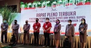 Pleno terbuka penetapan calon terpilih Pilkada Minut di Sutan Raja Hotel.