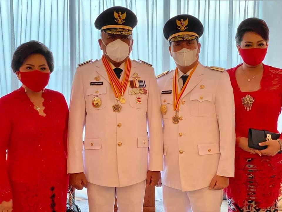 Gubernur Olly Dondokambey SE dan Ibu Ir Rita Dondokambey Tamutuan, dan Wakil Gubernur Drs Steven OE Kandouw dan Ibu dr Kartika Devi Kandouw Tanos MARS