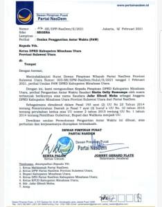Surat usulan PAW DPP NasDem.