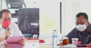Bupati Minahasa Dr Ir Royke O Roring MSi dan Wabup Robby Dondokambey SSi saat memimpin Rapat Bersama Forkopimda Plus Minahasa.