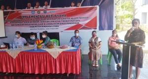 Kadis Pendidikan Minut Olfy Kalengkongan, M.M.Pd saat memberikan sambutan dalam kegiatan Implementasi Kerjasama.