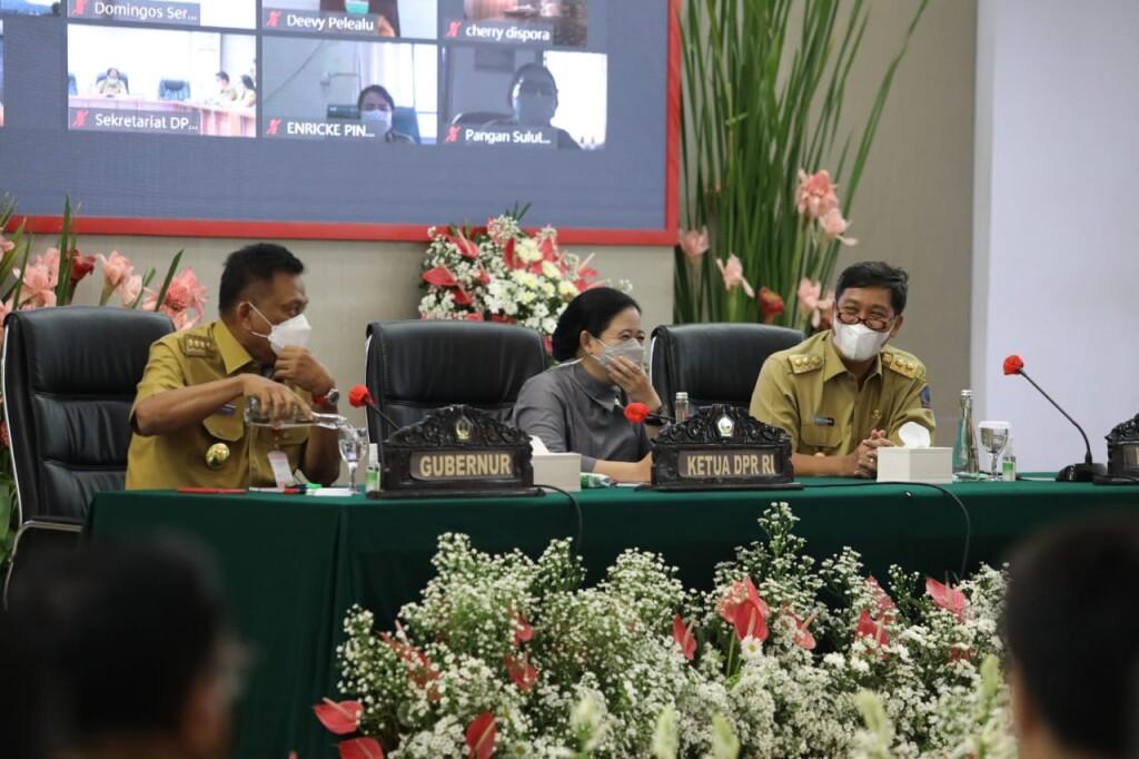 Ketua DPR RI Puan Maharani diapit Gubernur Olly Dondokambey SE dan Wagub Drs Steven OE Kandouw, Senin (07/06/2021).
