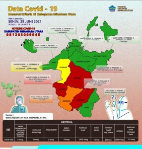 Data Covid 19 di Kabupaten Minahasa Utara tanggal 28 Juni 2021