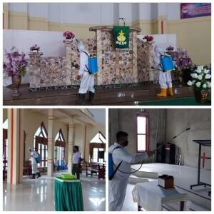 Giat Penyemprotan Disinfektan di sejumlah fasilitas rumah Ibadah.