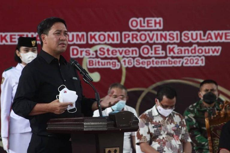 Ketua Umum KONI Sulut Drs Steven OE Kandouw saat membawa sambutan, Kamis (16/09/2021)