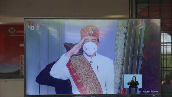 Presiden RI Jokowi saat detik-detik Peringatan HUT Proklamasi RI