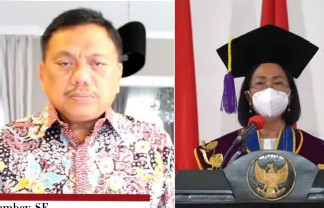 Gubernur Olly Dondokambey SE dan Rektor Unsrat Manado Prof Dr Ellen J Kumaat