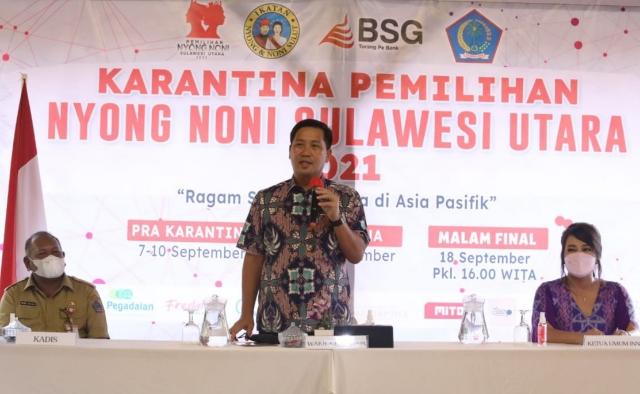 Wakil Gubernur Drs Steven OE Kandouw saat membawa sambutan pada kegiatan PNNS 2021, Selasa (14/09/2021)