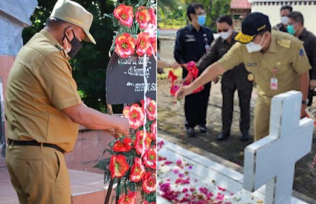 Gubernur Olly Dondokambey SE dan Wagub Drs Steven OE Kandouw saat meletakkan karangan bunga dan menabur bunga di Makam mantan Gubernur/Wagub Sulut, Senin (20/09/2021)