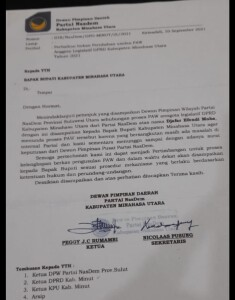Surat penundaan PAW DPD Nasdem Minut yang ditujukkan kepada Bupati Joune Ganda.