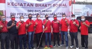 POSE: Foto bersama Bupati Joune Ganda bersama anggota fraksi di DPRD Sulut Berty Kapojos dan Fabian Kaloh serta fraksi PDIP di DPRD Minut.