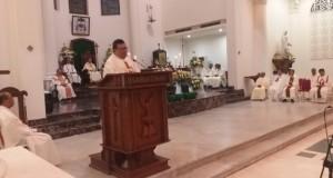 Supda MSC Sulkaltim dan Ketua Panitia 100 Tahun MSC di Sulawesi saat membawakan homili, Selasa (19/11/2019)