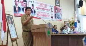 EVANS STEVEN LIOW, Kaban Kesbangpol Daerah Provinsi Sulut saat membawakan sambutan pada kegiatan Sosialisasi Pekan Kerukunan Internasional, Senin (02/03/2020)