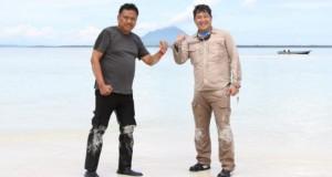 Gubernur Olly Dondokambey SE dan Wakil Gubernur Drs Steven OE Kandouw (ODSK) saat singgah sejenak di Obyek Wisata Bahari Pasir Timbul Pulau Nain, Jumat (22/05/2020)