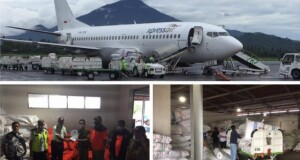 Gunakan Pesawat Carteran, bantuan bagi korban bencana alam di Bolsel dan Bolmong tiba di Bandara Sam Ratulangi Manado, Senin (03/08/2020)