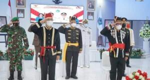 Walikota Maurits Mantiri, Wawali Hengky Honandar, Sekda Kota Bitung dan unsur Forkopimda Kota Bitung saat menghadiri Peringatan Hari Lahir (Harla) Pancasila 01 Juni 2021.